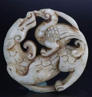 Antique Natural Jade Hand-Carved Beast & Bird Statue