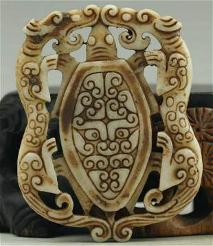 Hand Carved Natural Jade Double Face Dragon Medallion