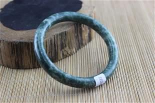 Certificated Natural Green Jade Hand-Carved Bracelet