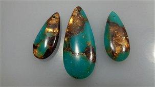 3pcs/Set Green Jade & Gold Copper Bornite stone Teardro