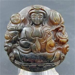 Antique Chinese Carved Natural Jade Bodhisatta Pendant