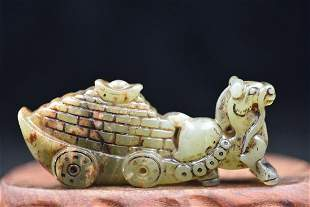 Antique Jade Hand-Carved Horse Statue