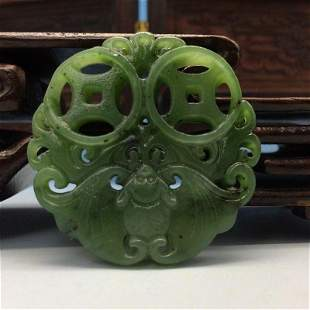 Chinese Old Jade Hand-Carved Animal & Money Medallion
