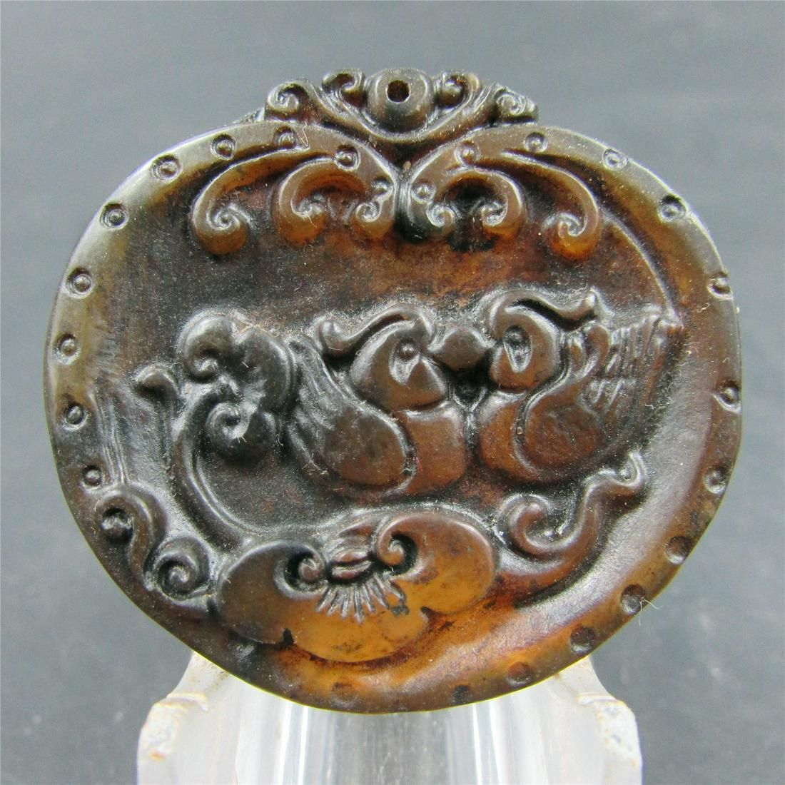 Antique Chinese Carved Natural Jade Ducks Pendant