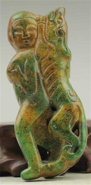 Antique Chinese Carved Natural Jade Statue Amulet