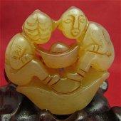 Antique Natural Hand Carved Jade Double children send m