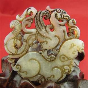 Antique Natural Hand Carved Jade Dragon Pendant