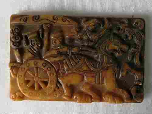 Rare Antique Natural Jade Hand Carved Plaque