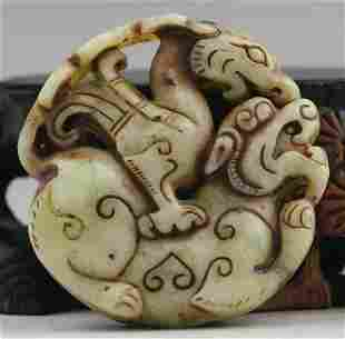Natural Jade Hand Carved Figural Double Face Pendant