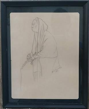Vintage Lady 1962 Drawing Painting Signed.