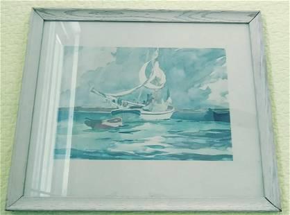 Watercolor Art Print Sloop Bermuda by Winslow Homer (Am