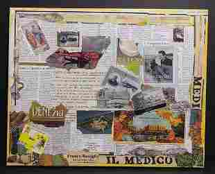Italy- french Mixed Media Collage Painting- Approx Pain