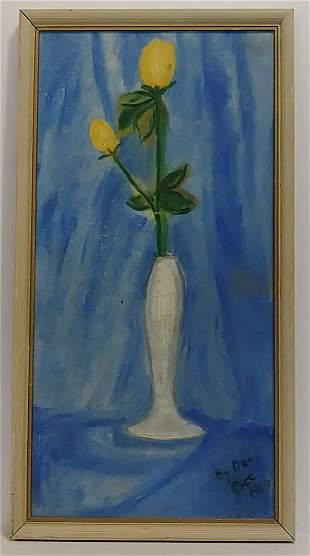 1968 Dee P (Ame) Vintage Signed Oil Painting Flower