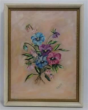 Vintage 1974 Cecile.A.B (Amer-N Y) Oil Painting Flower
