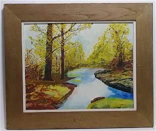 Original R. Sloan Signed Vintage Landscape Oil Painting