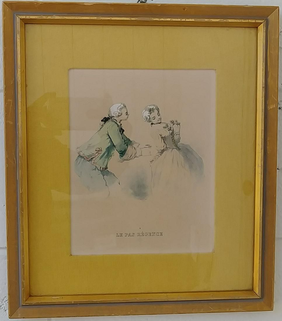 Vintage French Hand Colored Engraving Hand Painted.