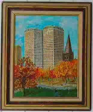 New York Central Park Oil Painting on Canvas Framed