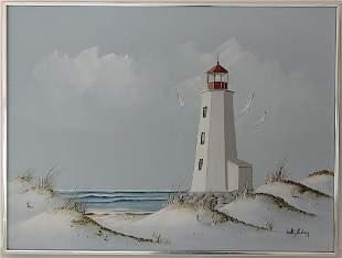Vintage Coastal Light House Oil Painting Signed
