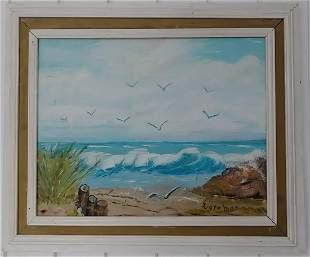 Long Beach Plain Air Oil Painting on Canvas Board Frame