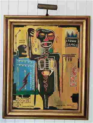 XL Jean-Michele Basquiat Signed 1984 Painting Framed