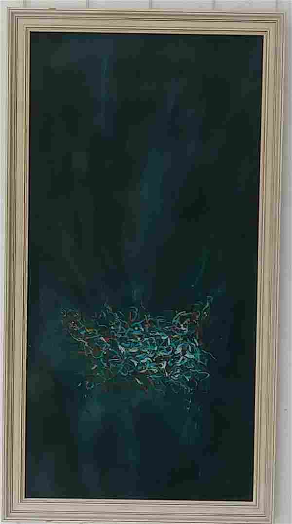 Midcentury L.L Overton65 Abstract Oil Painting On Canva