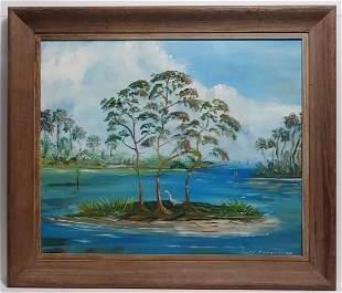 GARRY EDWARD INDIAN RIVER FL PAINTING ON MASONITE