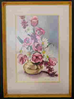 C. Gustafson Gibson 68' Flower Watercolor Painting.