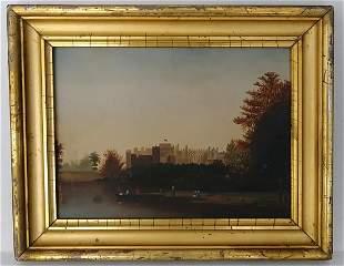 Antique European Oil Painting on Board Lemon Frame.