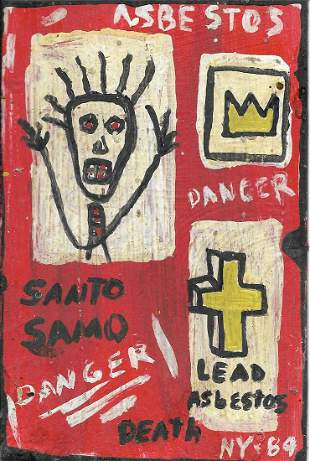 JMB Signed - SAMO CROWN - Painting Signed on Reverse. A