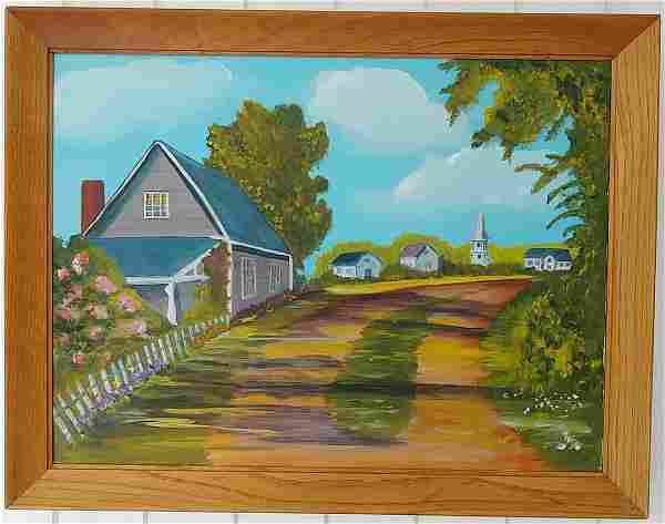 Country Side Framed Oil Painting on Canvas
