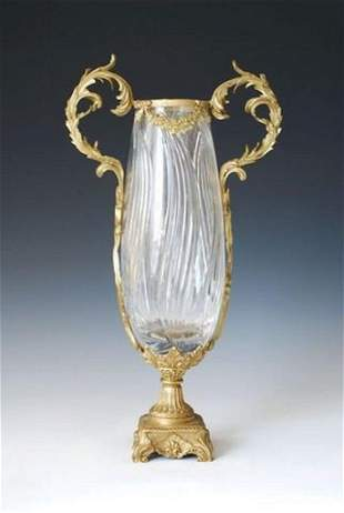Sculptured Bronze and Crystal Faceted Vase With Scroll