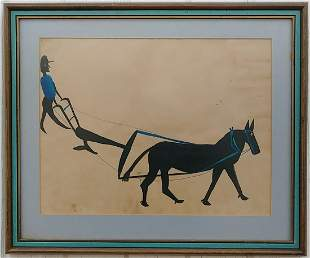 Bill Taylor Art Drawing Painting Framed- Man and Horse