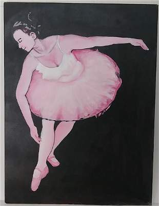 Ballerina Painting on Canvas Signed