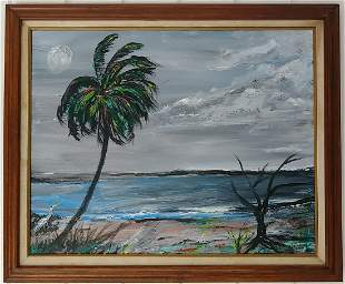 Indian River Signed Oil Painting on Canvas