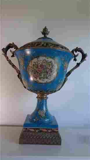 Blue Large Porcelain - Bronze Mount Center Piece Urn 88