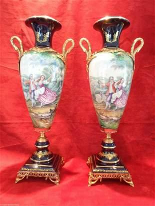 Pair Large Cobalt Blue Porcelain Vase Dore Bronze Swan