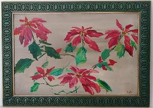 Signed Red Hibiscus Flower Oil Painting on Masonite