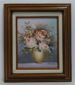 Signed Oil Painting Basquet of Flower