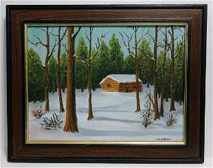 Nell Miller (Ame) Signed Oil Painting Plein Air Barn