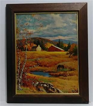 Vintage Framed Litho-Print Old Autumn Pasture by Westal
