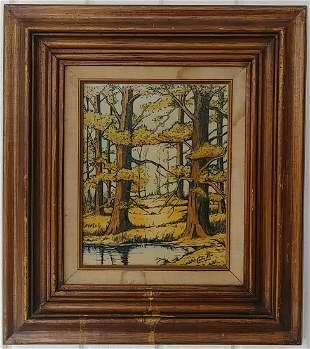 Vintage Framed Etching Enamel Painting Signed Carlos