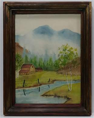 Vintage Original Landscape Watercolor Painting. Signed