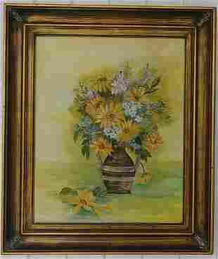 Vintage Original Flower Oil Painting Signed.