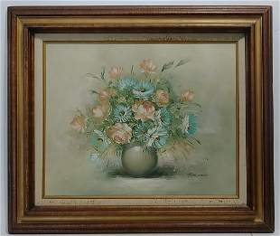 Framed Bouquet of Flower Oil Painting on Canvas Signed