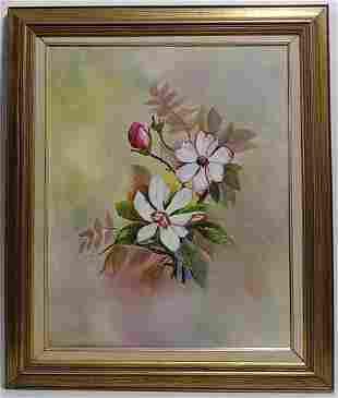D.K. Webber Signed-Magnolias- Oil Painting on Masonite.
