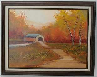PA 87 Landscape Farm Oil Painting on Canvas Framed
