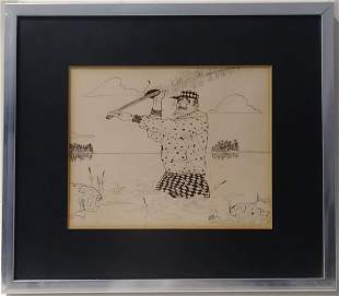 Vintage 1965 Mike Birzon Cartoon Art Ink Drawing.This i