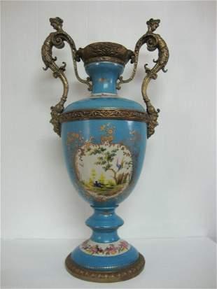 Turquoise Porcelain Vase, Louis XVl Bronze