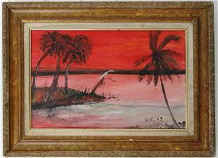 Indian River Signed Oil Painting on Tick Cardboard