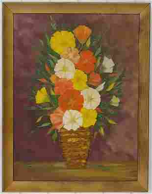 1972 Vintage Flower Oil Painting on Canvas Framed
